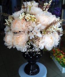 Hoa lụa, hoa giả Uyên shop, Mầu kem sang trọng