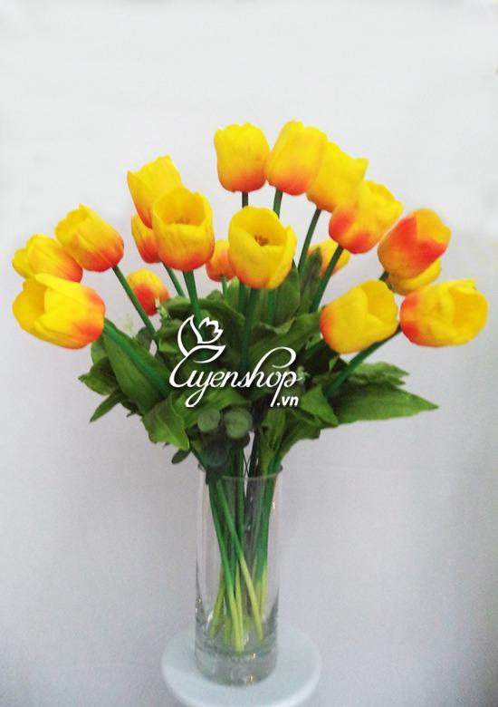 hoa tulip cam - hoa lua - uyenshop