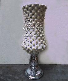 Hoa lụa, hoa giả Uyên shop, Lọ hoa Composite trắng