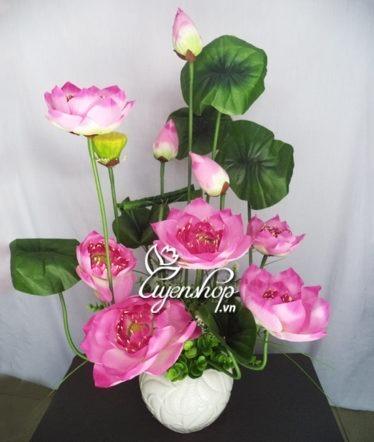 Hoa lụa, hoa giả Uyên shop, Lọ hoa Sen Thái