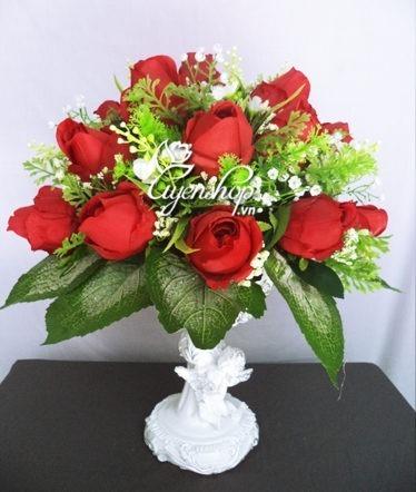 Hoa lụa, hoa giả Uyên shop, Hoa hồng đỏ Thiên thần