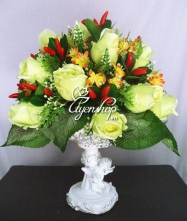 Hoa lụa, hoa giả Uyên shop, Bình hồng xanh thiên thần