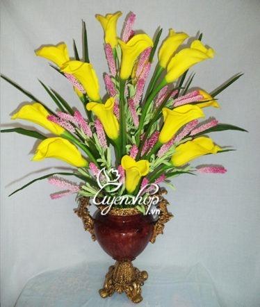 Hoa lụa, hoa giả Uyên shop, Bình hoa Rum vàng
