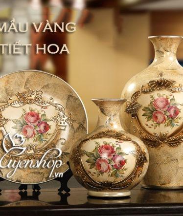 Hoa lụa, hoa giả Uyên shop, Bộ 3 trang trí bình vàng