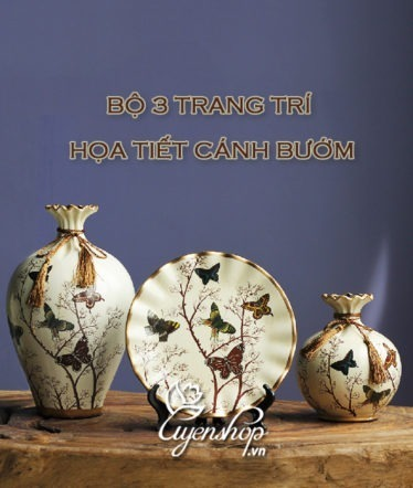 Hoa lụa, hoa giả Uyên shop, Bộ trang trí họa tiết cánh bướm