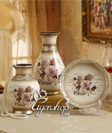 Hoa lụa, hoa giả Uyên shop, Bộ trang trí họa tiết hoa hồng