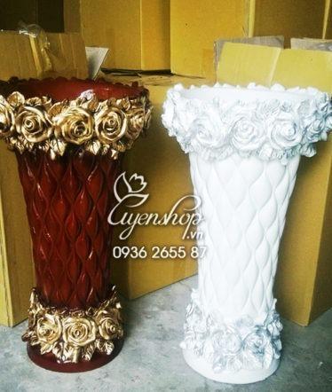 Hoa lụa, hoa giả Uyên shop, Bình composite hoa hồng