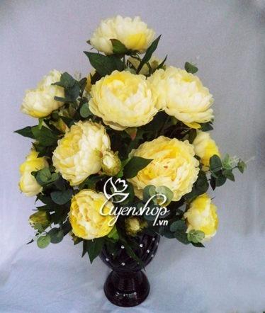 Hoa lụa, hoa giả Uyên shop, Bình Mẫu Đơn vàng