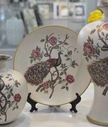 Hoa lụa, hoa giả Uyên shop, Bộ chim công đỏ