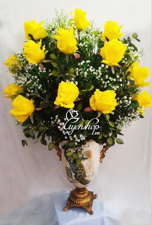 binh hoa hong vang - hoa gia