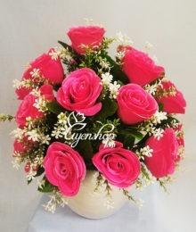 Hoa lụa, hoa giả Uyên shop, Tươi mới cùng Sắc Hồng