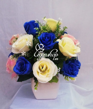 Hoa lụa, hoa giả Uyên shop, Lọ hồng để bàn
