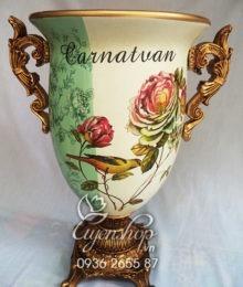 Hoa lụa, hoa giả Uyên shop, Lọ hoa họa tiết Hoa Trà