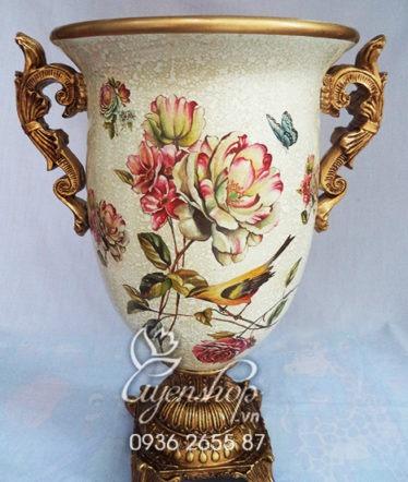 Hoa lụa, hoa giả Uyên shop, Lọ hoa họa tiết hồng trà