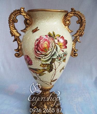 Hoa lụa, hoa giả Uyên shop, Bình hoa Composite cao cấp