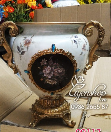 Hoa lụa, hoa giả Uyên shop, Lọ hoa phong cách Châu Âu