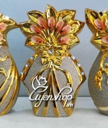 Hoa lụa, hoa giả Uyên shop, Bộ 3 trang trí phong cách Châu Âu