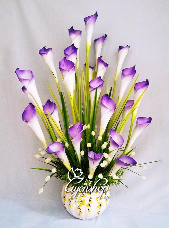 hoa rum xanh tim - hoa gia