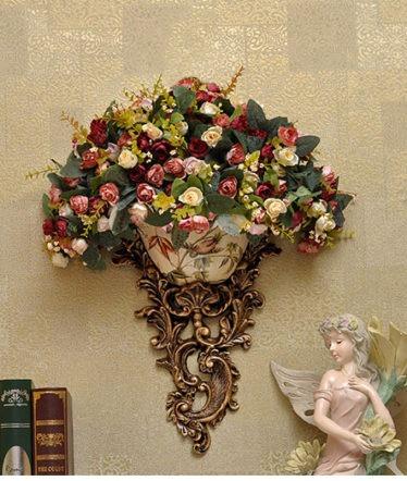 Hoa lụa, hoa giả Uyên shop, Hoa treo tường có chân