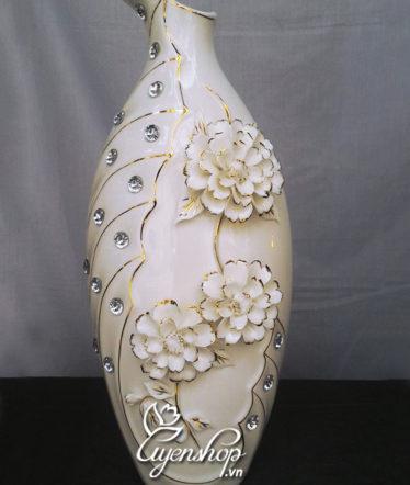 Hoa lụa, hoa giả Uyên shop, Bình hoa sứ sương cao cấp
