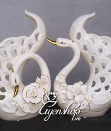 Hoa lụa, hoa giả Uyên shop, Đôi Thiên Nga đẹp