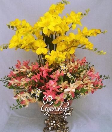 Hoa lụa, hoa giả Uyên shop, Bình hoa Lan