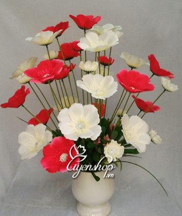 Hoa lụa, hoa giả Uyên shop, Bình hoa cánh bướm trắng hồng