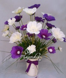 Hoa lụa, hoa giả Uyên shop, Bình hoa cánh bướm mầu trắng tím
