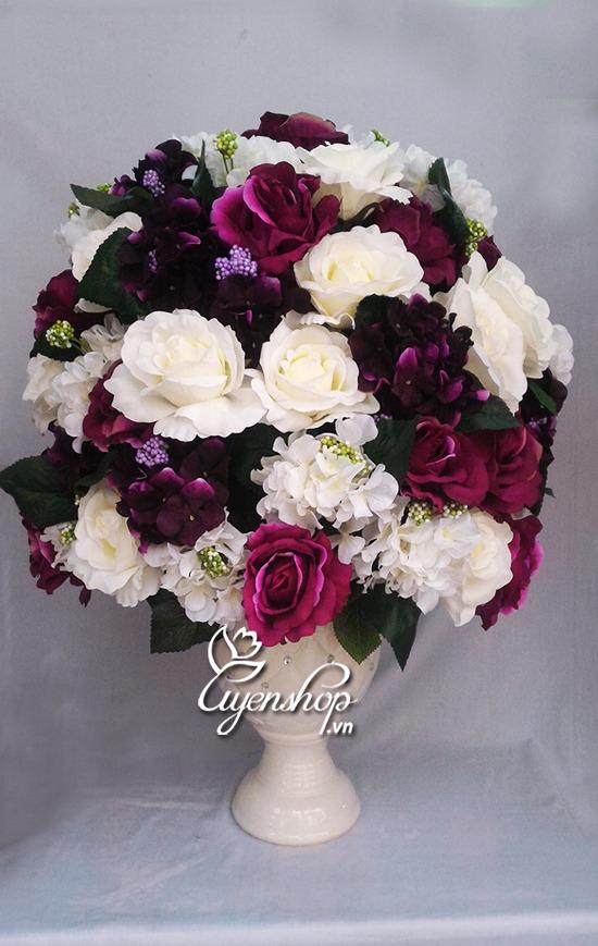 hoa hong trang tim - hoa lua