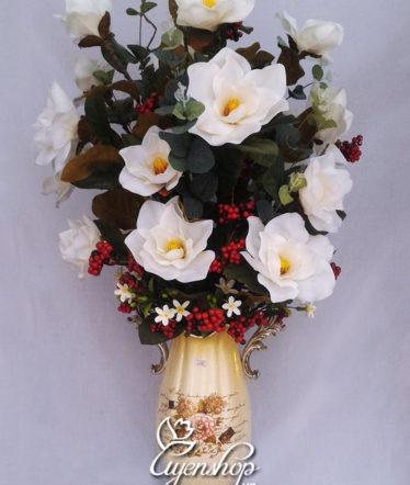Hoa lụa, hoa giả Uyên shop, Bình hoa Mộc Lan đẹp