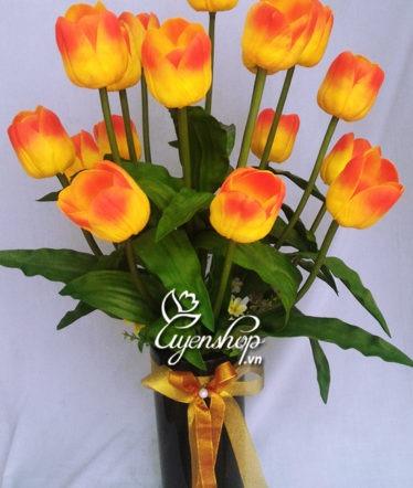 Hoa lụa, hoa giả Uyên shop, Hoa Tulip cam