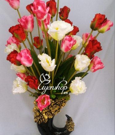 Hoa lụa, hoa giả Uyên shop, Bình hoa Tulip dáng ngà voi