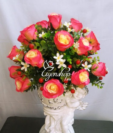 Hoa lụa, hoa giả Uyên shop, Bình hoa Thiên thần