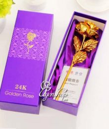 Hoa lụa, hoa giả Uyên shop, Hoa hồng mạ vàng 24k