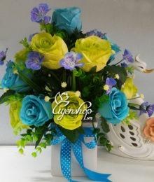 Hoa lụa, hoa giả Uyên shop, Lọ hoa hồng xanh