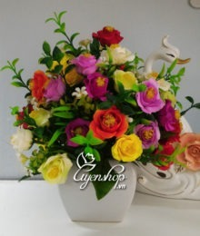 Hoa lụa, hoa giả Uyên shop, Hoa hồng nhí nhiều mầu