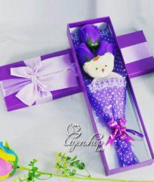 Hoa lụa, hoa giả Uyên shop, Hồng sáp 3 bông có gấu