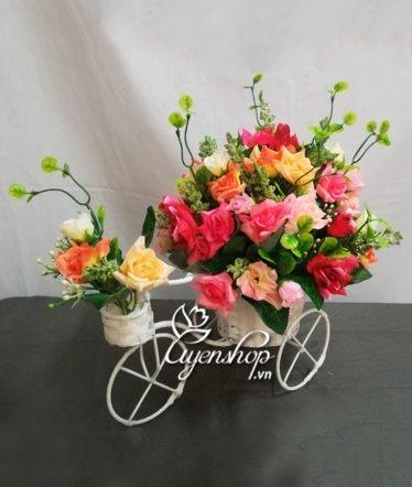 Hoa lụa, hoa giả Uyên shop, Xe đạp hoa hồng nhí