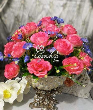 Hoa lụa, hoa giả Uyên shop, Đĩa hoa hồng