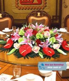 Hoa lụa, hoa giả Uyên shop, Hoa bàn tròn