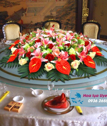 Hoa lụa, hoa giả Uyên shop, Hoa bàn tròn lớn