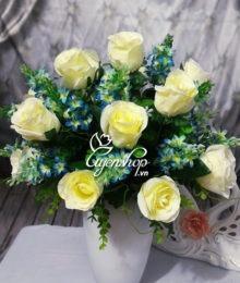 Hoa lụa, hoa giả Uyên shop, Bình hoa hồng trắng