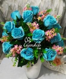 Hoa lụa, hoa giả Uyên shop, Bình hoa hồng xanh