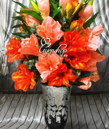 Hoa lụa, hoa giả Uyên shop, Bình Huệ Tây đỏ