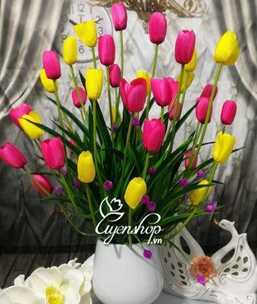 Hoa lụa, hoa giả Uyên shop, Trẻ trung cùng hoa Tulip