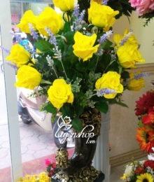 Hoa lụa, hoa giả Uyên shop, Bình hồng vàng cao cấp