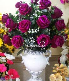 Hoa lụa, hoa giả Uyên shop, Bình hoa hồng tím