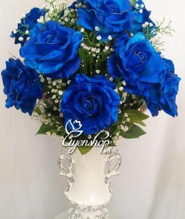 Hoa lụa, hoa giả Uyên shop, Hoa hồng xanh cao cấp