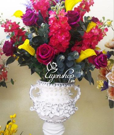 Hoa lụa, hoa giả Uyên shop, Bình hoa Phi Yến
