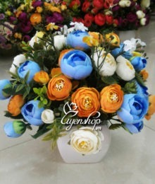 Hoa lụa, hoa giả Uyên shop, Hồng trà để bàn
